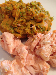 Recipe: Mustard Roasted Salmon with Sweet Potatoes and Broccoli