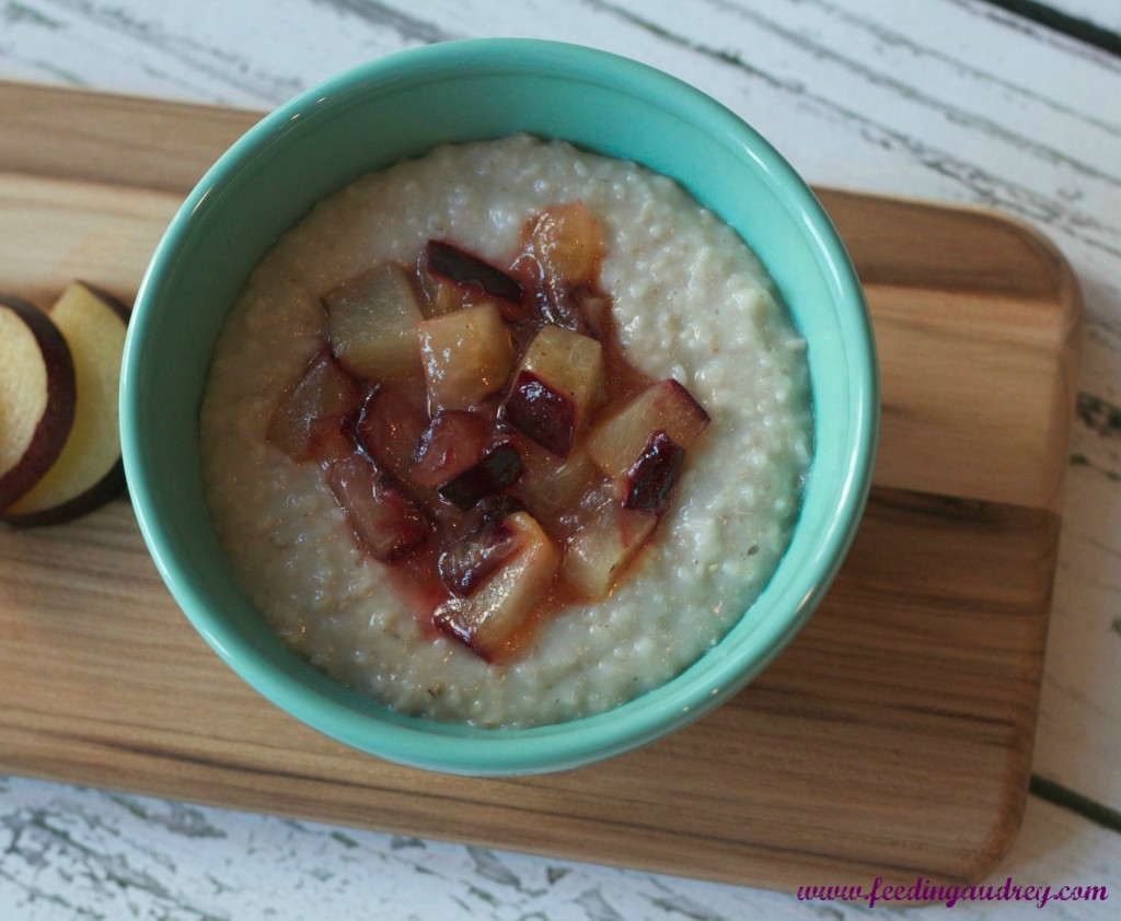Roasted Plum Oatmeal www.redkitchenette.com