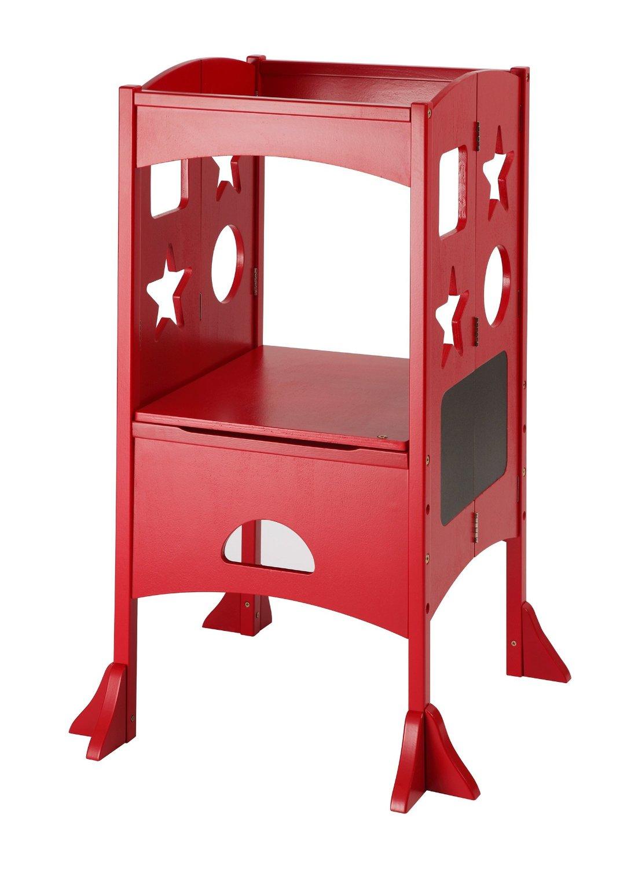 Get Kids Cooking The Kitchen Helper Stand Red Kitchenette