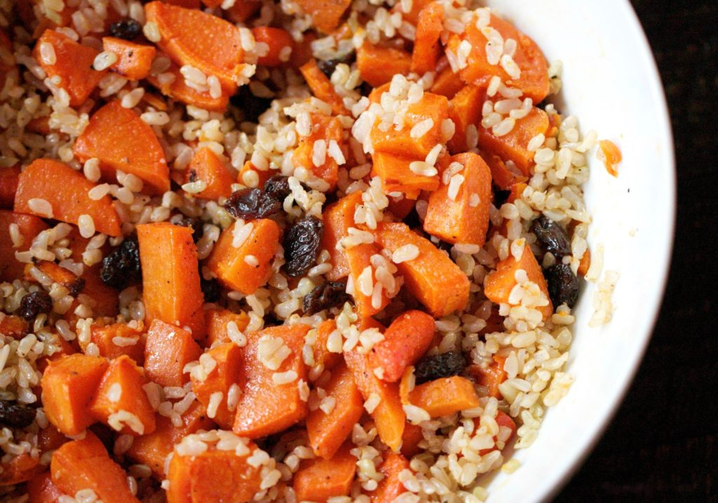 citrusy brown rice and vegetables www.redkitchenette.com
