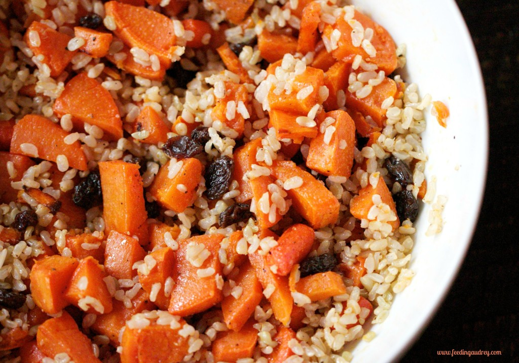 Citrusy Brown Rice with Roasted Root Veggies www.feedingaudrey.com