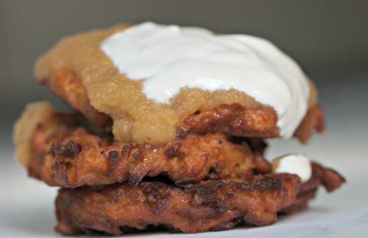 Sweet Potato Pancakes with Homemade Applesauce & Sour Cream